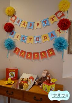 Curious George Happy Birthday Banner / Curious by HeartsandCraftsy First Birthday Banners, Happy Birthday Parties, 3rd Birthday, Birthday Ideas, Curious George Party, Curious George Birthday, Party Favor Tags, Gift Tags, Party Themes
