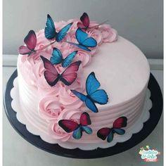 16th Birthday Cake For Girls, Butterfly Birthday Cakes, Sweet 16 Birthday Cake, Elegant Birthday Cakes, Butterfly Cakes, Cake Decorating Designs, Cake Decorating Videos, Birthday Cake Decorating, Cake Designs For Girl