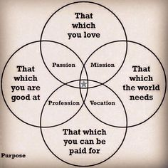 Purpose has been a common theme in this week's readings. This graphic does a nice job of showing the overlap of passion and purpose with vocation and profession .