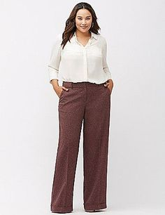 plus size tweed wide leg pant