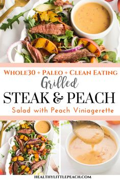 Peach Steak Salad A savory and sweet grilled peach and flank steak salad that is perfect for summer. It is and Paleo compliant.A savory and sweet grilled peach and flank steak salad that is perfect for summer. It is and Paleo compliant. Whole 30 Diet, Paleo Whole 30, Whole 30 Recipes, Flank Steak Salad, Flank Steak Recipes, Grilled Peach Salad, Grilled Peaches, Grilled Steak Salad, Steaks
