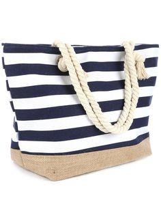 9395b167d2 Navy Blue or Red Stripe Print Beach Tote Accessory Bag