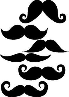 "Set of 6 Mustaches 4"" wide vinyl decals by GeekHipVinyl"