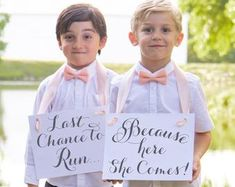 Two Wedding Signs Here Comes The Bride Just Wait Til You See | Etsy Funny Wedding Signs, Wedding Humor, Wedding Ceremony, Our Wedding, Rose Gold Ribbon, Flower Girl Signs, Ring Bearer Signs, Ivory Flower Girl Dresses, Second Weddings