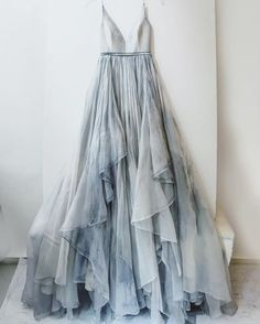 Altnerative Prom Spring Summer Dress Blue Grey Tie Dye Arty Ruffled Strappy Dress