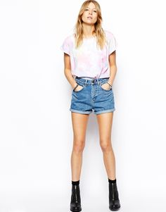 $53, Asos High Waist Denim Mom Shorts In Mid Wash Blue. Sold by Asos. Click for more info: https://lookastic.com/women/shop_items/29783/redirect