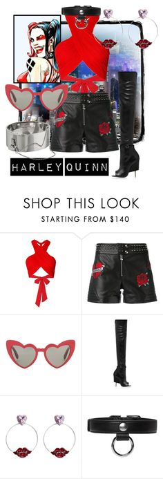 """""""Dr. Harleen Quinzel"""" by raecycle ❤ liked on Polyvore featuring Vie Active, Isolá, Alice + Olivia, Philipp Plein, Yves Saint Laurent, Givenchy, Anton Heunis, Carven, Eddie Borgo and Dccomics"""