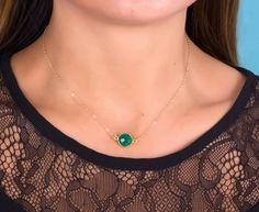 e8c77326e5e3 Auténtica Esmeralda collar en 14 k de oro lleno. Piedra Esmeralda es  auténtico y tiene