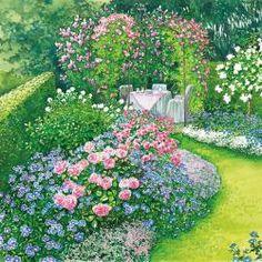 Para replantar: um canteiro de rosas e perenes - Garten - Garden Cottage, Garden Beds, Amazing Gardens, Beautiful Gardens, Rosen Beet, Garden Design Plans, Balcony Plants, Garden Drawing, Garden Signs