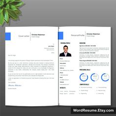 Modern Resume  Cover Letter TemplatePink  Etsy Resume Template