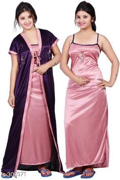 Nightdress Comfy Satin Night Dress Set Fabric: Satin Sleeves: Sleeves Are Included /  Sleeves Are Not Included Size: Up To 36 in To 38 in ( Free Size)  Length: Up To 50 in           Type: Stitched Description: It Has 1 Piece Of Nigth Dress & 1 Piece Of Robe Set Work: Embroidery Country of Origin: India Sizes Available: Free Size   Catalog Rating: ★4 (21639)  Catalog Name: Free Mask Womens Flare Satin Nightwears Vol 2 CatalogID_32265 C76-SC1044 Code: 682-305971-756