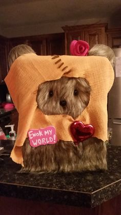 Ewok Valentines Box. I love this project to much!! My daughter and I created this for a contest. Enjoy! Star wars Ewok awesome valentine's box
