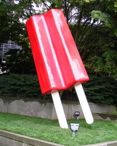 This is a 17 foot giant Red Popsicle artwork in Belltown, Washington.