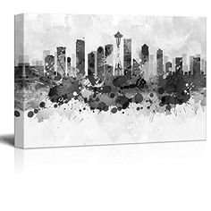 Wall26  Black and White City of Seattle with Watercolor Splotches  Canvas Art Home Decor  24x36 inches -- See this great product.Note:It is affiliate link to Amazon.