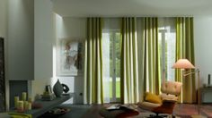 Decorations & Accessories, : Chic Green Ripple Fold Drapes Ideas With Plain Top Head For Cheerful Living Room Interior Decor Ideas Plain Tops, Living Room Interior, Drapery, Shutters, Decorative Accessories, Window Treatments, Design Trends, Interior Decorating, Windows