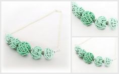 Mint Green Toned Scribble Necklace handmade from Polymer Clay by LottieOfLondon