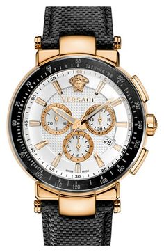 Versace+'Mystique+Chrono'+Leather+Strap+Watch,+46mm+available+at+#Nordstrom