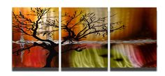 Metal Art Wall Art Decor Abstract Contemporary Modern Sculpture Hanging Zen Textured - Tree in Silhouette 3 panel. $130.00, via Etsy.