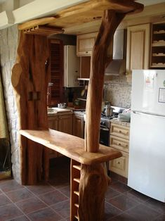 Creative log furniture ideas to own at home 1 Furniture, Kitchen Decor, Furniture Design Wooden, Kitchen Remodel Small, Cedar Furniture, Kitchen Decor Pictures, Home Decor, Log Furniture, Rustic Style Furniture