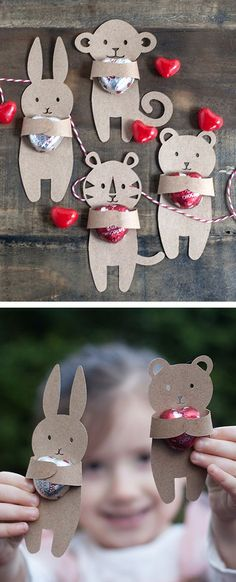 The best DIY projects & DIY ideas and tutorials: sewing, paper craft, DIY. DIY Valentine's Day Gifts : could be used for Easter or other holidays too )black cat for halloween) Cute animal hug - Valentine's Day craft idea Valentines Bricolage, Kinder Valentines, Valentine Day Crafts, Holiday Crafts, Holiday Fun, Homemade Valentines, Cute Valentine Ideas, Valentine Activities, Printable Valentine
