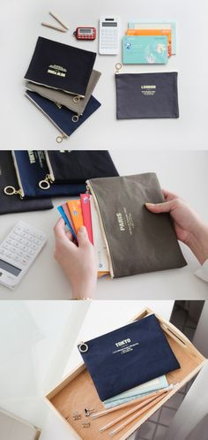 It is a simple and useful pouch to organize your items! The pouch is made of durable canvas material which lasts longer and has a simple yet classy design. 1 Zippered compartment ** A ring zipper pull Pouch, Wallet, Zipper Pulls, Canvas Material, Baggage, Smooth, Stationery, Slim, Colorful