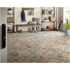 Daltile Natural Stone Collection Mongolian Spring 12 in. X 24 in. Slate Flagstone Floor and Wall Tile sq. / Case) - The Home Depot Daltile Natural Stone Collection Mongolian Spring 12 in. X 24 in. Slate Flagstone Floor and Wall Tile s Stone Tile Flooring, Natural Stone Flooring, Slate Flooring, Kitchen Flooring, Linoleum Flooring, Natural Stone Tiles, Kitchen Tiles, Tiled Floors, Flooring Ideas