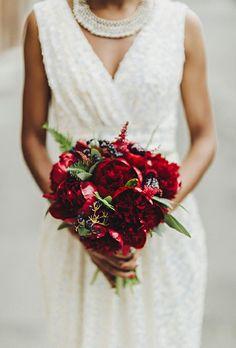 Elegant Bridal Bouquet Showcasing: Deep Red Peonies, Red Astilbe, Dark Blue Privet Berries, Green Sword Fern
