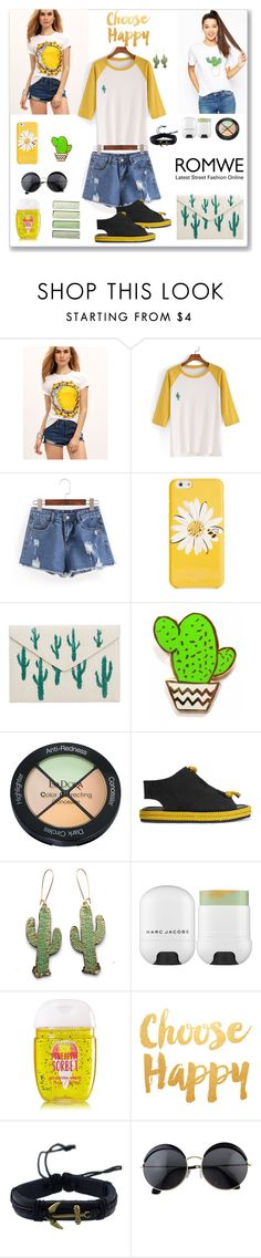 """""""Romwe Color Block T-shirt"""" by ludmyla-stoyan ❤ liked on Polyvore featuring Kate Spade, MANGO, Finest Imaginary, Isadora, Acne Studios, Rosita Bonita, Marc Jacobs, Cactus, romwe and top"""