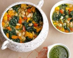 White Bean Vegetable Faro Soup with Herby Charmoula