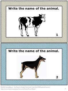 FREE! FREE! Enjoy this free writing activity. Students are to write the name of the animal that is displayed on each card. A response form and answer key are provided.