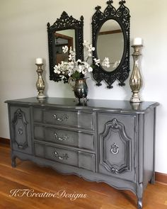 Custom mix of grays, Metallics and glaze, dark stained top, two tone silver hardware