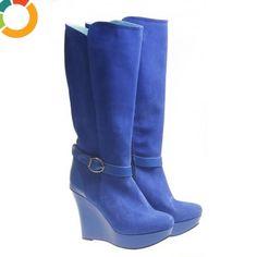 Cizme de dama Electric Blue Wedges, Shoes, Fashion, Sneaker, Boots, Urban, Chic, Lady, Moda