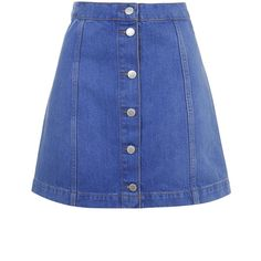 TOPSHOP MOTO Bright Blue Button Front A-Line Skirt ($52) ❤ liked on Polyvore featuring skirts, bottoms, denim, saia, bright blue, topshop, knee length a line skirt, bright blue skirt, topshop skirts and high waisted knee length skirt