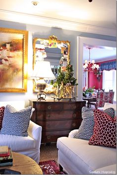 Love this home {Mary Kay Andrews' home decorated for Christmas} pinned because I love that vintage up-cycle lamp made from a silver urn/drink dispenser ~ such a neat piece!