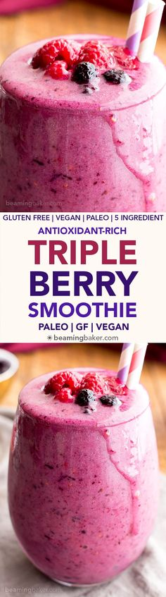 Triple Berry Smoothie (Paleo, V, GF): an easy, antioxidant-rich recipe for thick, refreshing smoothies packed with three kinds of berries! #Paleo #Vegan #GlutenFree | BeamingBaker.com
