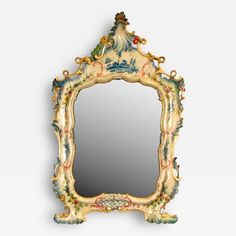 A Fine Venetian Lacquered Toilette or Dressing Table Mirror by