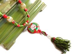 Green red indian beads enamel pendant ethnic by sevinchjewelry, $48.00