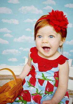 Red Baby Headband, Red Chiffon Headband, Newborn Head Band, Red Flower Headband, Spring Headband. $10.25, via Etsy.