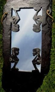 """""""Mirror Image"""" Hand Carved Slate on Mirror 38 cm x 24 cm Irish Art, Mirror Image, Tribal Art, Slate, Hand Carved, Mad, Carving, Chalkboard, Wood Carvings"""