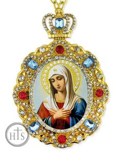 Virgin Mary Extreme Humility, Jeweled Icon Pendant with Chain - at Holy Trinity Store