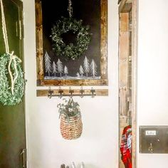 Image may contain: indoor via White Farmhouse, Farmhouse Decor, Entrance Decor, Classic White, Ladder Decor, Indoor, Wreaths, My Style, Image