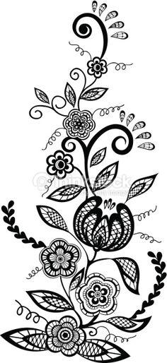 Stylized wine bottleglass black and white images pinterest mehndi flowers and leaves design element mightylinksfo