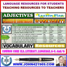 A Lesson Plan that presents Teaching Resources in Adjectives: Degrees of Comparison. This teaching resource will help the teachers to walk into the classroom with ready to teach confidence as it covers all that a teacher and a student need for a vocabulary lesson on Degrees of Comparison.
