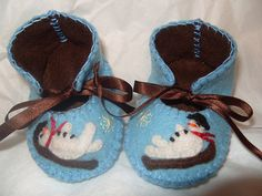 light blue and brown handmade christmas shoes with snowman motifs by Funky Shapes, via Flickr