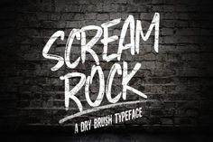 My finger was hit by fire last night. And the music from my computer was playing rock music. That was inspiring me to make this font. Scream Rock Typeface is a strong typeface, handmade with natural drybrush. Very very very cool for your work guys (Logo, branding, clothing, poster and others )
