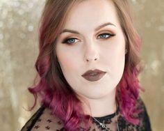 Gorgeous peach makeup and raspberry pink hair
