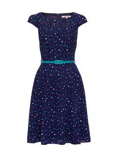 Jubilee Spot Dress   Navy & Multi   Skirt