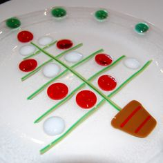 Fused Glass Christmas Plates | Sale - Christmas Gum Drop Tree - Fused Art Glass Plate