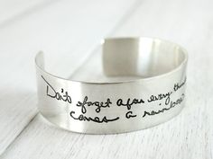 Carry your loved one's writing with you. - Handwriting Bracelet  Jumbo Cuff by ScriptedJewelry on Etsy, $179.00