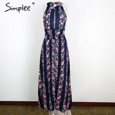 Sleeveless floral print long backless summer